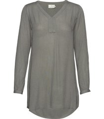 amber v-neck tunic tunika grå kaffe