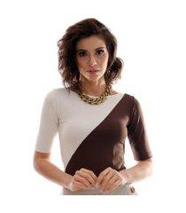 blusa com duas cores marrom e palha feminina meia manga decote canoa