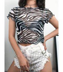 negro zebra stri semi crew crew cuello camiseta de manga corta