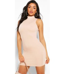 high neck sleeveless mini dress, nude