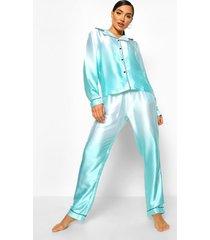 satijnen ombre pyjama set met broek en knopen, turquoise