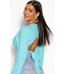 blouse met sluiting aan de achterkant, polkastippen en pofmouwen, turquoise