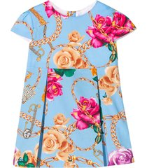 young versace blue dress with floreal press