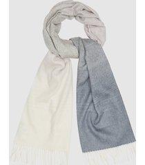 reiss annie scarf - wool cashmere blend scarf in white/grey, womens