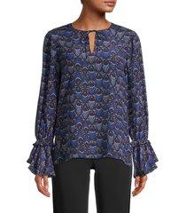 kobi halperin women's nora ruffle-sleeve printed silk blouse - midnight blue - size xs