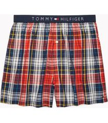 tommy hilfiger men's fashion woven boxer fiery red/ multi plaid - l