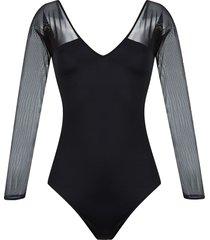 brigitte v-neck tulle panel michelle swimsuit - black