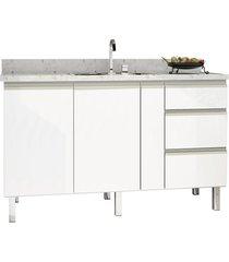 gabinete para cozinha em aço gaia 146,4x52cm branco