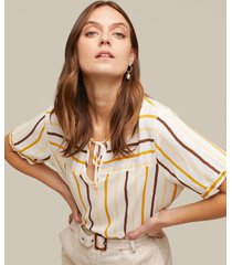 blusa manga corta estampada con anudado en frente-xl