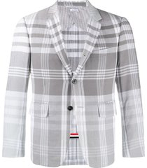 thom browne madras check suit jacket - grey