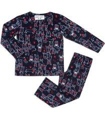 pijama any any soft azul marinho