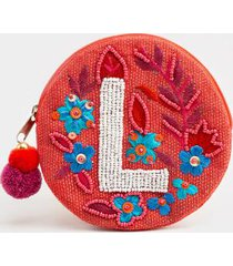 l round initial coin pouch - coral