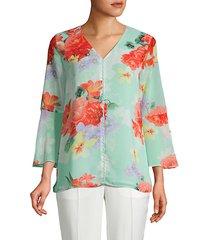 embellished floral-print blouse
