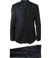 emporio armani checked two piece evening suit - black
