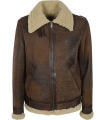 golden goose vintage effect fur details jacket