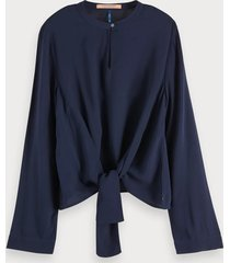 maison scotch 152509 02 viscose top with tie detail night