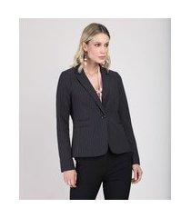 blazer feminino estampado risca de giz preto