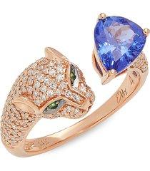 effy women's 14k rose gold, tanzanite & diamond leopard bypass ring - size 7