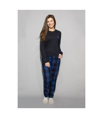 pijama hygge homewear flanela preto e azul calça e camiseta manga longa preta