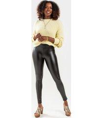 lizette faux leather ponte pants - black