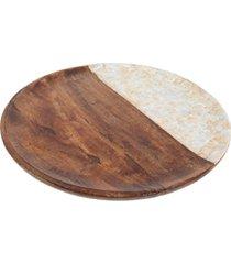 bandeja bon gourmet mango natural redonda em madeira