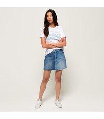 camiseta para mujer real originals mock denim entry tee superdry