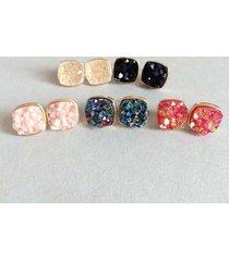 orecchini a forma di pietra di resina quadrata irregolare dell'orecchio delle donne di tendenza multi-colori per le donne regalo