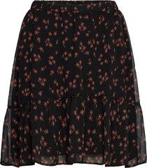 erica print skirt kort kjol svart modström