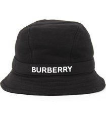 burberry black cotton hat with logo