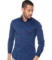camisa manga larga masculina azul indigo slim fit los caballeros