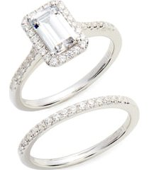 lafonn emerald cut halo engagement ring & wedding band set, size 7 in silver/clear at nordstrom