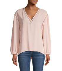 1.state women's high-low v-neck top - delicate blush - size xs