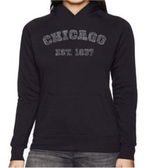 la pop art women's word art hooded sweatshirt - chicago 1837