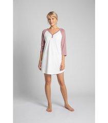 pyjama's / nachthemden lalupa la018 katoenen colourblock sleepshirt - perzik