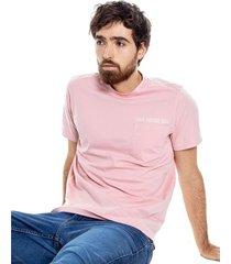 camiseta cuello redondo con bolsillo y estampado color blue