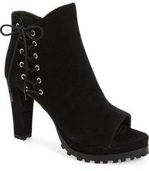women's allsaints michela lace-up platform bootie, size 9us - black