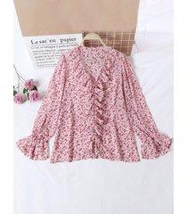 camicetta con scollo a v a maniche lunghe con stampa floreale a maniche lunghe da donna