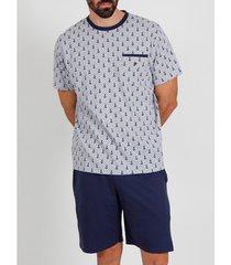 pyjama's / nachthemden admas for men pyjama kort t-shirt anclitas grijs admas