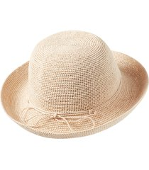 women's helen kaminski classic upturn crocheted raffia hat - brown