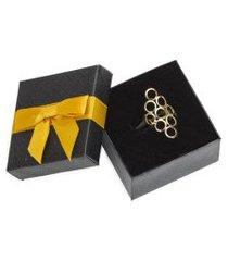 anel feminino ouro 18k banhado regulável - coleçáo anitta