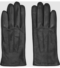reiss belle - leather gloves in black, womens, size xxl