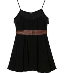 monnalisa black short jumpsuit with belt