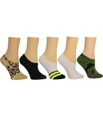 steve madden women's leopard camo sneaker socks, pack of 5