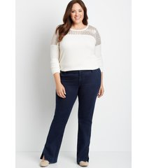 maurices plus size jeans womens dark wide waistband trouser jeans blue