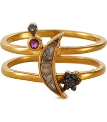'kolar' black diamond ruby 18k gold vermeil resin double band ring