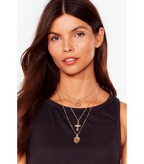 womens cross the record layered necklace - gold