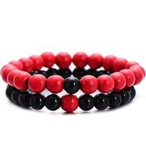 pulsera 2 piezas cuentas piedra natural ajustable rojo negro