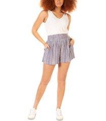 black tape smocked-waist striped shorts