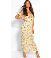floral off the shoulder tie front maxi dress, yellow