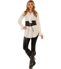 buyseasons women's white lace up pirate blouse adult costume